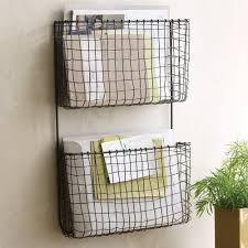 vertical wire wall mounted file or mail organizer with 2 pockets for home office spaces ideas