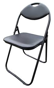 black faux leather folding chair padded seat back rest puter office chairs amazon co uk kitchen home
