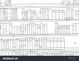 outline of large book shelf with blank books stock vector