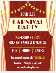 Free Carnival Poster Template Ms Word Carnival Flyer Templates Word Excel Templates