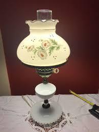 vintage gwtw lamp hurricane lamp milk glass hob nail hand painted