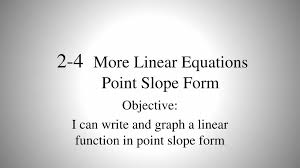 linear equations point slope form