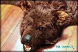 bear hide rug fur accents faux fur bear skin rug brown log cabin fake taxidermy fake