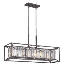 designers fountain 87438 vb linares 4 light linear chandelier in vintage bronze with crystal prisms