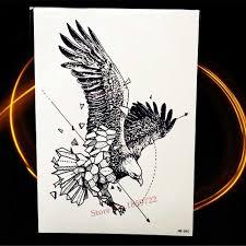 летающий орел временная татуировка черный эскиз водонепроницаемый хна тату