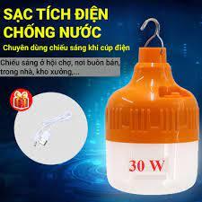 bóng đèn tích điện siêu sáng ] bóng đèn tích điện led 30w & 60w - bóng đèn  tích điện led có sạc ngoài - có 3 chế độ sáng thông