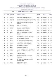 karnataka diploma theory exam time table studychacha