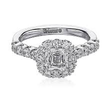 Christopher Designs Halo Engagement Ring Christopher Designs Crisscut Engagement Ring 0 83 Ctw