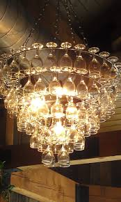 The Art Of Up-Cycling: Wine Glass Chandeliers- Funky Cool Wine Glass  Chandelier
