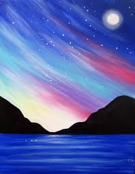 can t wait to paint this celestial seascape with lori next month beginner canvas painting ideassunset