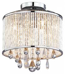 three light chrome clear crystals glass drum shade semi flush mount