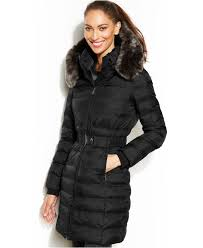lyst dkny hooded faux fur trim belted down puffer coat in black