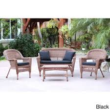 honey wicker 4 piece patio conversation set free shipping today