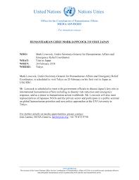 Media Advisory Media Advisory Humanitarian Chief Mark Lowcock To Visit Japan