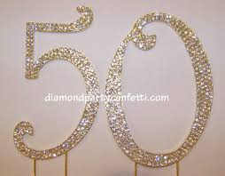 Gold Crystal Rhinestone Number 50 50th Anniversary Birthday Cake Topper
