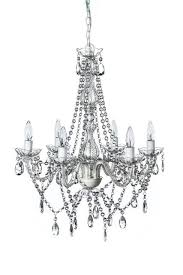 the original gypsy color 6 light large crystal chandelier h26 w22 white metal