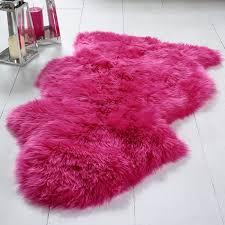 single sheepskin hot pink rug
