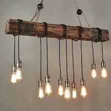 bulb pendant lighting farmhouse style dark distressed wood beam large linear island light bulbs edison lar