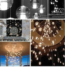 led crystal glass ball bocci pendant chandelier lamp meteor rain meteoric shower stair bar droplight chandelier lighting