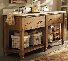 Rustic Double Sink Bathroom Vanity Under Two Framed Mirrors And Wooden  Wall Verified Designs