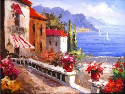 as with this contemporary image many amalfi coast oil paintings are of unknown origin