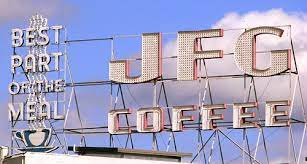 The old jfg coffee sign still sits atop the complex; See Middle Tennessee Jfg Coffee Sign Old City Knoxville Tn