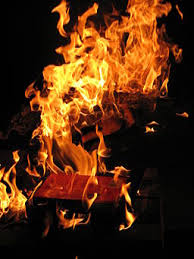 two of the novels biggest symbols interact when books are burned