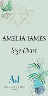 Amelia James Size Chart Direct Sales Party Plan And