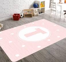 pink nursery rug monogram personalized girl