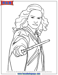 Small Picture Harry Potter Hermione Granger Holding Wand Coloring Page H M
