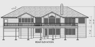 house side elevation view for 10072 custom ranch house plan w daylight basement and rv
