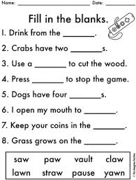 These spelling worksheets contain the words draw, straw, crawl, lawn, hawk, yawn, author, because, haunt, august, pause, and laundry. No Prep Au Aw Worksheets Diphthongs Word Work By The Designer Teacher