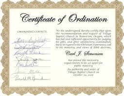 blank ordination certificates printable certificates of ordination minister home inteior