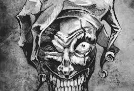 Fantasy Klaun žolík Tetování Ilustrace Stock Fotografie