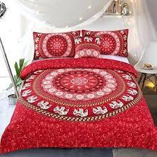elephant mandala duvet cover red bohemian bedding hippie bed set tapestry queen descendants 2 uk