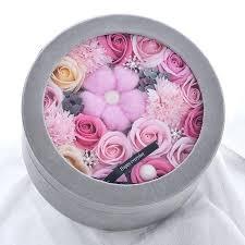 flower boxes diy fashion round rose soap box wedding souvenir valentines day valentine s birthday gift with clear