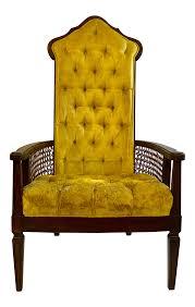 Vintage high back chair Chesterfield Trespasaloncom Midcentury Modern High Back Velvet Cane Chair Chairish
