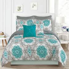 teal queen comforter. Howplumb Bedding Comforter 7 Pc. Queen Size Bed Set, Teal Blue And Gray Medallion