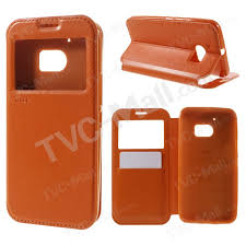 roar noble view window leather phone cover for htc 10 10 lifestyle orange