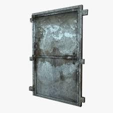 old metal door 3d model low poly max obj fbx 1