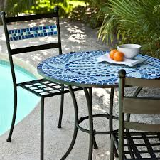 outdoor piece aqua blue mosaic tiles patio furniture bistro set inflatable pool chairs floating