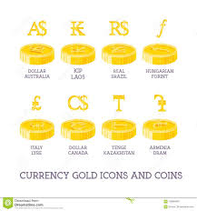World Currency Signs And Coins Big Set Symbols Of Money And Gold