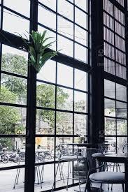 large black frame windows concept ping center restaurant coffee minimalist contemporary design interior