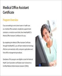 Sample Medical Assistant Certificate 5 Examples In Word Pdf