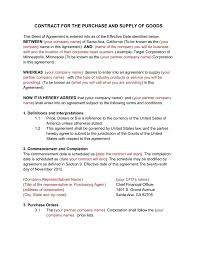 Supply Contract Templates Template Supplier Agreement Contract Template 9