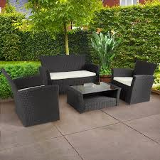 4pc outdoor patio garden furniture wicker rattan sofa set black black outdoor balcony furniture