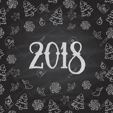Christmas or New Year Chalkboard design. 2018 Stock Vector - 49792382