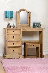 Mexican Corona Bedroom Furniture Corona 4 Drawer Dressing Table Stool And Mirror Set Distressed