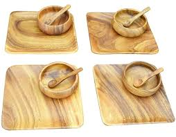 acaciaware acacia wood appetizer cheese serving trays 4 7 inch tray plates and 4