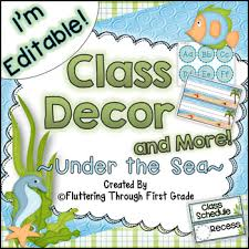 First Grade Job Chart Classroom Decor Editable Ocean Theme